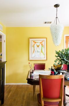 This wall color for the dining room. Like an egg yolk. Maybe just one accent wall though.