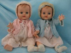 """Vintage 1960's DEE CEE Baby Doll Twins 19"""" Vinyl Molded Hair Original Outfits #DollswithClothingAccessories"""