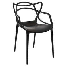 Showcasing a black finish and sleek design, this eye-catching side chair is perfect pulled up to your kitchen table or computer desk in the den. Product: ...