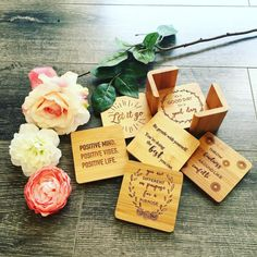Custom coasters are one of our fav gifts to design! Positive Mind, Positive Vibes, Be Gentle With Yourself, Wedding Gifts For Couples, Custom Coasters, Couple Gifts, Monday Motivation, Place Card Holders, Gift Ideas