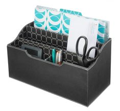 """Sleek Folder Center - Modern Black $30.00  Description Contain your folders, notepads, envelopes, and important papers in style. Makes a great mail center. Faux leather finish.  Dimensions: Width: 12.75"""" Height: 6.75"""" Depth: 6.25""""  Materials: Vinyl Leatherette Paper Lining"""