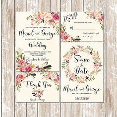 Floral Wedding Invitation Printable Wedding Invitation Bohemian Rustic Wedding Invitation