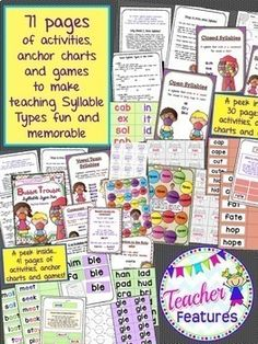 6 Syllable Types PRINTABLES (open & closed syllables & more) BOOM CARDS Bundle