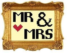 Cross stitch pattern Mr and Mrs wedding £1.80 by CraftwithCartwright