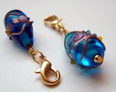 Royal blue lampwork glass beaded locking knitting stitch markers | kitschknits - Knitting on ArtFire