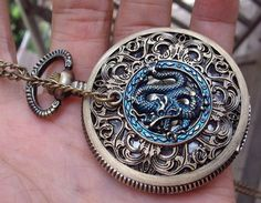 Fancy - hollow golden dial Pocket watch(big size) Locket Necklace with a Chinese dragon