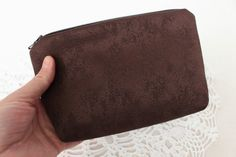 Cosmetic purse brown chocolate color Small by NeedlesOfSvetlana