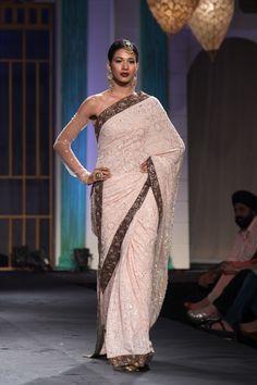 Sari by Meera Muzaffar Ali at India Bridal Fashion Week 2014 Indian Wedding Gowns, Indian Dresses, Indian Outfits, India Fashion, Ethnic Fashion, Asian Fashion, Indian Designer Sarees, Indian Designer Outfits, Bridal Sari