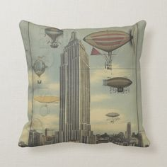Love the industrial look? Checkout these artist-designed pillows. Click the arrow at the bottom (when the gif isn't animating) to see, personalize and buy... Steampunk Airship, Decorative Pillow Cases, Custom Pillows, House Colors, Pillow Inserts, Accent Pillows, Beautiful Day, Color Splash, New York City