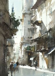 Some demo in my workshop in Shanghai Watercolor by Chien Chung Wei Watercolor City, Watercolor Sketch, Watercolor Artists, Watercolor Landscape, Watercolor Paintings, Watercolors, Urban Landscape, Landscape Art, Landscape Paintings