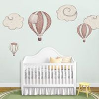 Hot Air Ballons & Clouds Wall Stickers