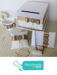 Wedding Card Box Money gift Holder Set with Guest Book Pen set, Ring Bearer Pillow and Flower Girl Basket Champagne and White Classic Customizable from Little Divine http://www.amazon.com/dp/B01675Q1JA/ref=hnd_sw_r_pi_awdo_2HiAwb0Q4D2E4 #handmadeatamazon