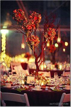 Wedding Decorations, Orange Centerpieces and Flower Arrangements Autumn Wedding, Red Wedding, Wedding Table, Wedding Flowers, Reception Decorations, Event Decor, Table Decorations, Reception Ideas, Tree Centerpieces