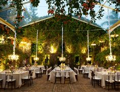 Transparent tent and nature for ceremony decor!