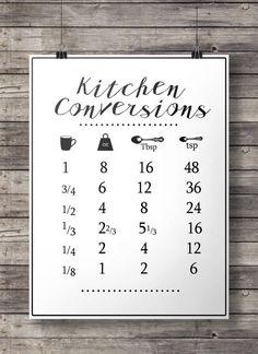 Items similar to Kitchen conversions conversion chart Printable kitchen measurements Printable kitchen art modern farmhouse aspiring chef cooking art on Etsy Kitchen Art, Kitchen Hacks, Kitchen Decor, Kitchen Prints, Kitchen Ideas, Kitchen Gadgets, Kitchen Updates, Kitchen Pantry, Kitchen Stuff