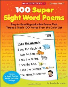 Another great #teacher #resource #book: http://amzn.to/1PZfAX0 100 Super #Sight#Word Poems: Easy-to-Read #Reproducible #Poems https://www.facebook.com/Mykindergardenclass/photos/a.427801474021061.1073741828.286637944804082/755983654536173/?type=3&theater