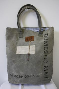 Repurposed Vintage Canvas Domestic Mail Tote Bag with Leather Detail, Striped Inside & Key! http://www.RiceAndBeansVintage.com/newarrivals.html