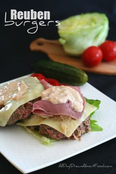 Low Carb Reuben Burger Recipe - all the best flavours of a Reuben sandwich in a juicy burger. No buns needed! #burgerweek #lowcarb