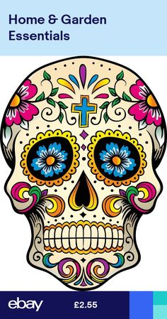 Mexican Sugar Skull Self Adhesive Vinyl Sticker 3d Butterfly Wall Stickers, Star Stickers, Vinyl Wall Stickers, Wall Decal Sticker, Vinyl Art, Sugar Skull Artwork, Sugar Skulls, Skull Coloring Pages, Man Cave Murals