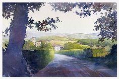 castello montalto by Thomas W Schaller Watercolor ~ 10 inches x 15 inches