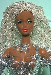 OOAK barbie with crystal bead hair - cool!