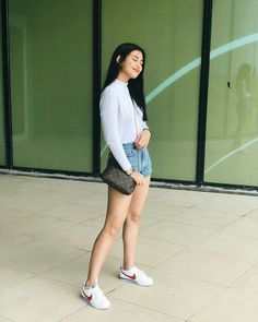 Gabbi Garcia Instagram, Trendy Outfits, Fashion Outfits, Womens Fashion, Ootd Poses, White Shorts, Denim Shorts, Natural Looks, Aesthetic Girl