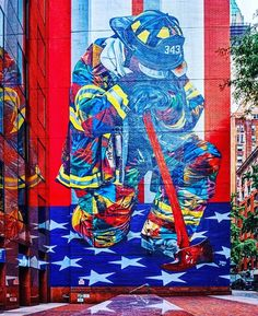 9/11 Fireman Mural at E. 49th and 3rd Ave., NYC Firemen, Nyc, Painting, Firefighters, Painting Art, Fire Fighters, Paintings, Painted Canvas, Fire Department