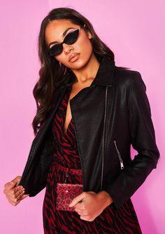 c67fb1c9e7 Missyempire - Sydney Black Faux Leather Biker Jacket Sydney Black, Black  Faux Leather, Biker