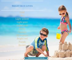 Bright blue children at the beach Colours That Go Together, Colourful Outfits, Color Theory, Red Purple, Color Combos, Color Mixing, Family Photos, What To Wear, Photoshoot