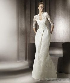 Brilliant Sheath Floor-Length Lace Wedding Dresses with Half-Sleeve Jacket 2012 Spring Trends