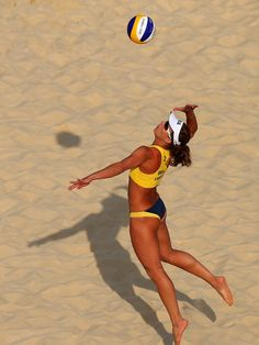 Larissa Franca of Brazil spikes the ball - Olympic Beach volleyball | London 2012 Olympics
