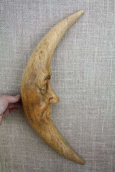 Moon Man Wood Carving Hand Carved Wall Sculpture Woodcarving