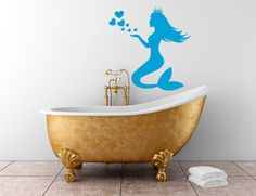 Housewares Mermaid Girl Queen with Hearts Wall Vinyl Decal Sticker Home Interior Decor m551