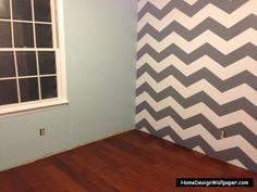 grey chevron tiffany blue, and plain grey bright purplr, other wall light light grey and dark heather grey striped