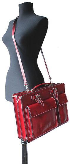 "Ladies Red Italian Leather Briefcase/Work Bag)"" alt="