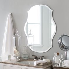 Romantic curves make this Decor Wonderland Mason Bathroom Mirror - x in. a beautiful addition to your boudoir or elegant vintage-inspired bath. This frameless bathroom mirror features a generous one-inch beveled edge and includes hanging hardware. Vintage Bathroom Mirrors, Frameless Mirror, Shower Panels, Traditional Interior, Bathroom Renovations, Bathroom Ideas, Interior Decorating, Interior Design, Wonderland