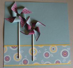 Carolyn's Paper Fantasies: Stampin Up Pinwheels Scrapbook Page    love the colour combo, paper, pin wheels!