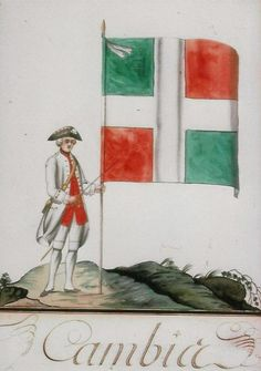 """Soldier with regimental colour, régiment de Cambis, circa 1758 - """"The 2nd Battalion of the régiment de Cambis was sent to reinforce the garrison of Louisbourg shortly before the fortress was besieged by a large British force. When Louisbourg surrendered, outraged soldiers of this regiment burned their colours rather than surrender them. Note the white cravat tied around the standard pole. This and the white cross were common to all French army colours of the period."""""""