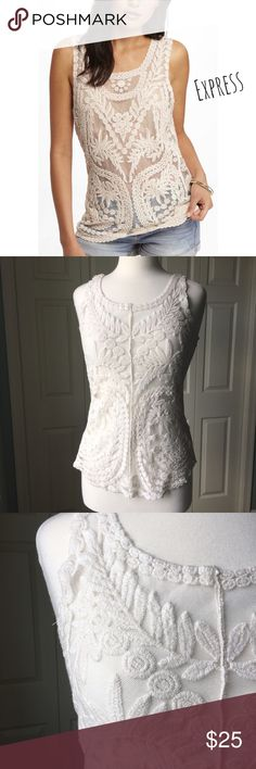 """Cream Sheer Brocade Lace Tank Trendy cream sheer brocade lace tank by Express. ▪️25"""" long  ▪️Tags removed ▪️In great condition  Note: Outift Inspo pictures are for inspiration only and do not reflect the exact item for sale.   🚭 Smoke-free home 📬 Ships by next day 💲 Price negotiable  🔁 Open to trades  💟Happy Poshing!💟 Express Tops Tank Tops"""