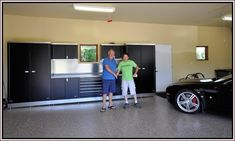 Buy or Build Garage Cabinet?: Black Garage Cabinet Ideas With Marble Floor And Black Car ~ Garage Inspiration Garage Cabinet Systems, Garage Storage Cabinets, Cabinet Plans, Garage Organization, Cabinet Ideas, Diy Garage, Garage Plans, Kitchen Cabinets Nz, Plywood Cabinets