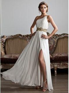 Vestidos princesa/ Formato A Um ombro Chá comprimento Chiffon Vestido de baile com Pregueado Perolização Lantejoulas (018020706) - JJsHouse