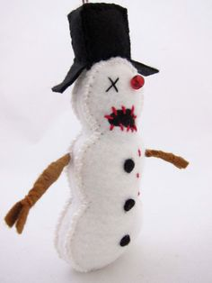 Zombie Snowman Ornament by My Zombie Friends on Etsy $13.50 LOVE IT! #ChristmasOrnament #Zombies