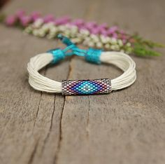 Organic linen bracelet ethnic colorful bracelet by Naryajewelry