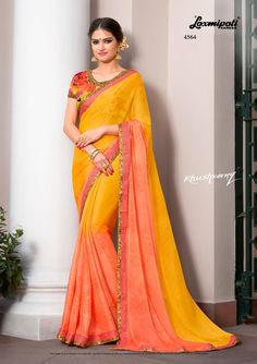 Looking for Orange & Yellow Printed Stone Work and Multicolour Fancy Blouse along with Fancy Lace Border in India? is your one stop shop for all kinds of designer -₹ Laxmipati Sarees, Indian Outfits, Indian Clothes, Orange Saree, Lace Border, Colour Yellow, Orange Yellow, Printed Sarees, Designer Sarees