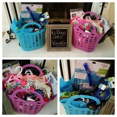 Vacation Baskets full of swimsuits, goggles, floaties,  water shoes, flip flops and all the necessities needed for a summer time family vacation