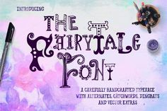 Fairy Tale Font with Extras by a Blond Moment on @creativemarket