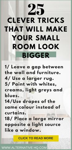 How to make a small room look bigger. Use these tips in your small bedroom or small apartment to make use of the small space. Give illusions of more r Small Space Living Room, Big Living Rooms, Small Room Design, Small Rooms, Small Apartments, Living Spaces, Bedroom Small, Girls Bedroom, Dining Rooms