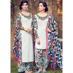 Ivory White and Floral Printed Straight Cotton Satin Suit