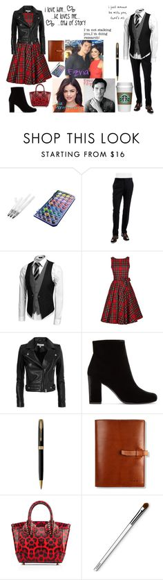 """""""Pretty Little Liars: Ezria"""" by teenwolfmoosic on Polyvore featuring Ted Baker, IRO, Yves Saint Laurent, Parker, Clinique and He Loves Me"""