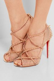 Heel measures approximately 4 inches Beige fishnet and mesh, blush leather Buckle-fastening ankle strap Made in Italy Fab Shoes, Black Bracelets, Leather Buckle, Black Rings, Fishnet, Designer Shoes, Ankle Strap, Christian Louboutin, Peep Toe